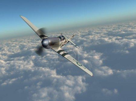 Photo pour Avion de chasse américain de la Seconde Guerre mondiale au-dessus des nuages - image libre de droit