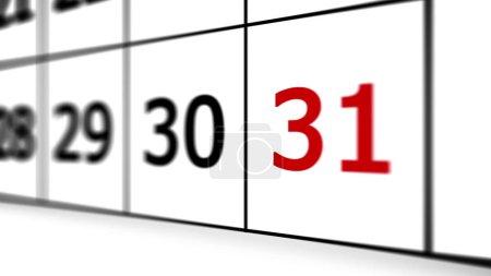 Photo pour 31 ème jour du calendrier. Profondeur de champ faible . - image libre de droit