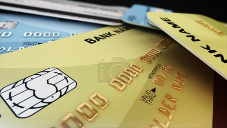 Photo for Gold credit card. Depth of field. 3d rendering. - Royalty Free Image