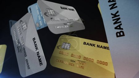 Photo for Color credit cards in air on black background. 3d rendering. - Royalty Free Image