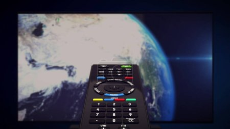 Photo for 3d rendering of InfraRed Remote controller. Tv set with Earth planet in background. Computer generated. - Royalty Free Image