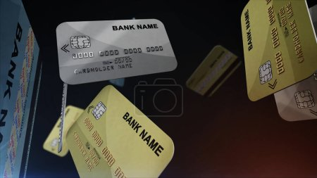 Photo for Credit cards falling down. Computer generated. Shopping concept. 3d rendering. - Royalty Free Image