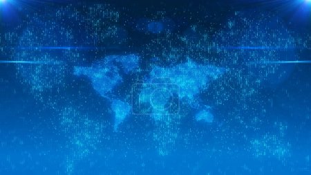 Digital World Map in Cyberspace