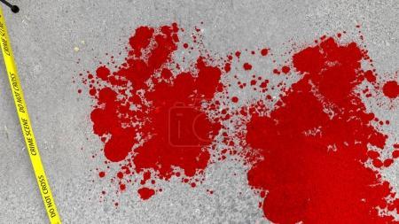 Bloody Crime Scene on Asphalt