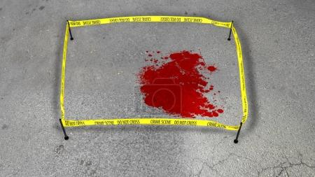 Crime scene with a bloody spot