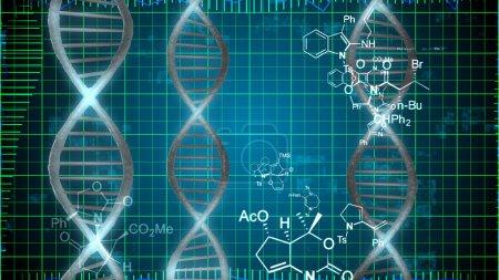 DNA Diagram on Blue Grid