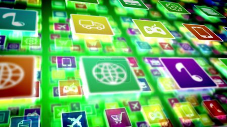 3d illustration of protrusive mobile application icons on computer screen