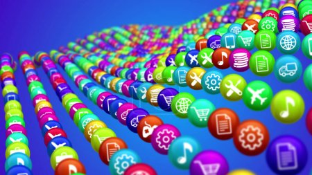 3d illustration of curvy colorful social mass media surface from balls on blue background