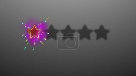 3d rendering of rating stars shimmering on grey background