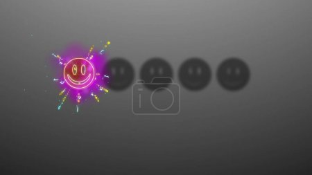 3d rendering of one smiley sparkling on grey background