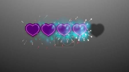 3d rendering of hearts rating on grey background