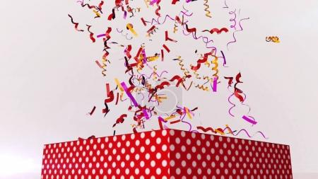 Photo for A festive 3d illustration of multicolored festive confetti flying in the air in the white background. They soar over a big spotted red box with gifts for Christmas and New Year. - Royalty Free Image