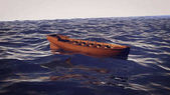Wooden Boat in Ocean Waves