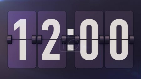Old-fashioned Time Flipclock Shows 12: 00