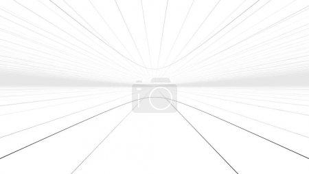 Foto de Una ilustración holográfica en 3D de una autopista de túnel hipersónico que sirve como portal temporal de una realidad a otra. Una misteriosa red de líneas se precipitan hacia adelante en el fondo del espacio blanco . - Imagen libre de derechos