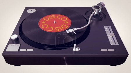 Vinyl player plays vinyl disc in cartoon style.