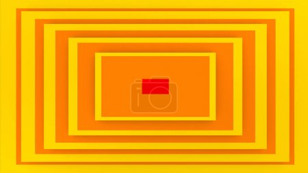 An optical art 3d illustration of a rectangular background composed of yellow and brown stripes. It looks like a cheerful retro portal. A red spot is in the center.