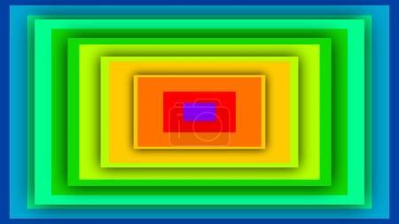 Photo pour Une illustration 3d op art de couleur arc-en-ciel recherche toile de fond avec de nombreux rectangles insérés l'un dans l'autre. Ils produisent l'effet tunnel mobile envoûtant . - image libre de droit