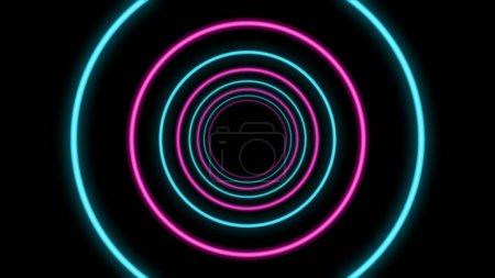 Photo pour Un impressionnant rendu 3D d'un tunnel abstrait à partir d'anneaux bleu clair et rose dans le fond noir. Ils ressemblent à un portail temporel futuriste pour les vaisseaux spatiaux . - image libre de droit