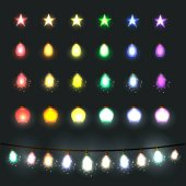 Festive lights garland on a dark background All light effects isolated and grouped