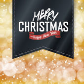 Merry Christmas lettering on Vintage black Label Gold holiday background with stars and defocused blurred lights