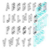 Isometric wireframe font