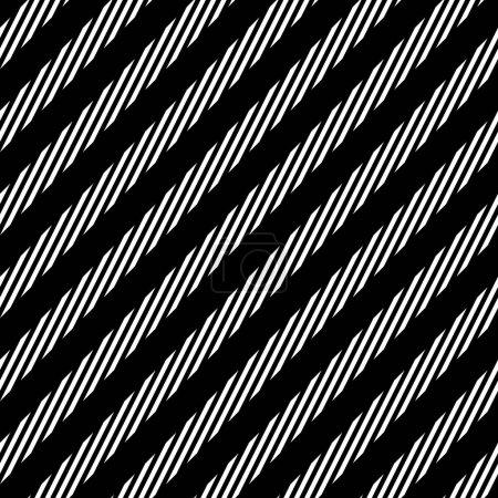 Illustration pour Motif sans couture avec des lignes diagonales noires et blanches. Rayures monochromes droites répétées texture fond. illustration vectorielle - image libre de droit