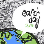 Earth day poster with text in speech bubble Part of Earth planet on pattern composed from words vector illustration
