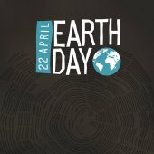 Earth Day Poster Tree rings and Earth Day logo with date 22 April Design poster template