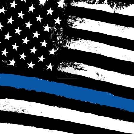 Illustration pour Drapeau noir américain avec ligne bleue de la police. illustration vectorielle - image libre de droit