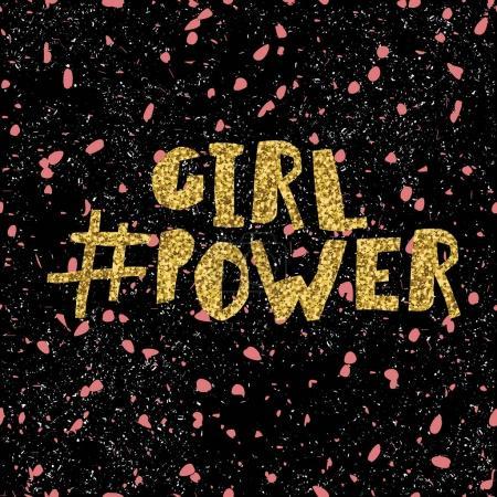 Golden glitter inscription girl power