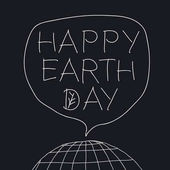 Happy Earth Day greeting lettering in speech balloon Vector illustration with the words planet Earth and leaf veins