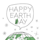 Happy Earth Day in speech balloon Vector illustration with the words planet Earth and green leaf