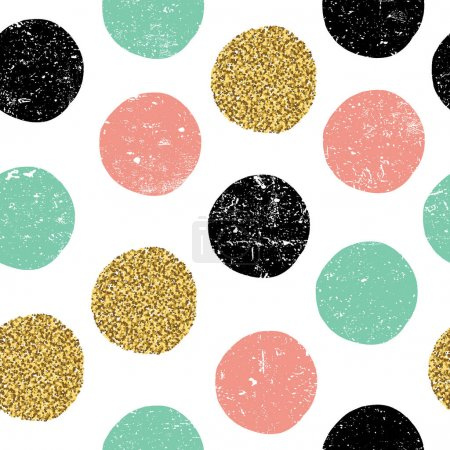 Illustration for Gold, green and black dots. Seamless textured pattern on white background. - Royalty Free Image