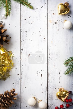 Photo for Christmas holidays background with Christmas holidays ornament on white background - Royalty Free Image