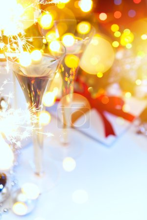 Holidays Light and champagne at Christmas or New Year's Eve