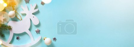 Photo for Christmas holidays decoration and tree light on blue background - Royalty Free Image