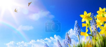 Photo for Happy Easter; Spring landscape background with fresh spring flower - Royalty Free Image