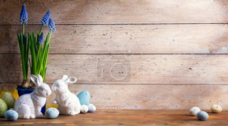 Photo for Art Happy Easter Day; family Easter bunny and Easter egg - Royalty Free Image
