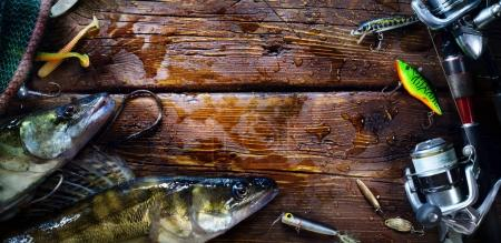 Photo for Art fishing repor; sports fishing rod and tackle backgroun - Royalty Free Image