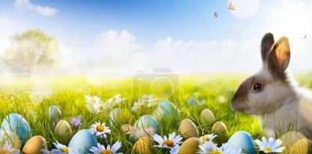 Photo pour Lapin de Pâques, oeufs de Pâques et flowe de printemps - image libre de droit