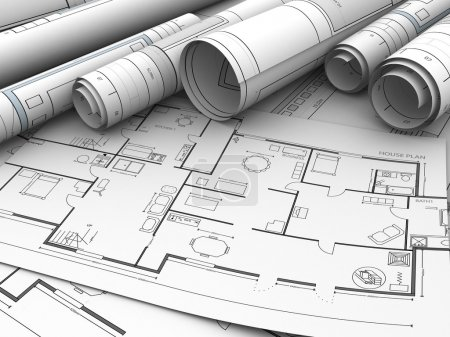 house plan rolled blueprints