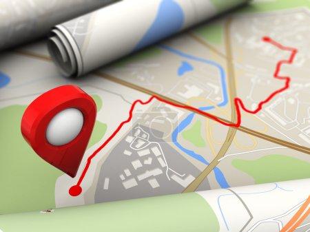 Photo pour Illustration 3D de la route avec la cible finale de l'itinéraire - image libre de droit