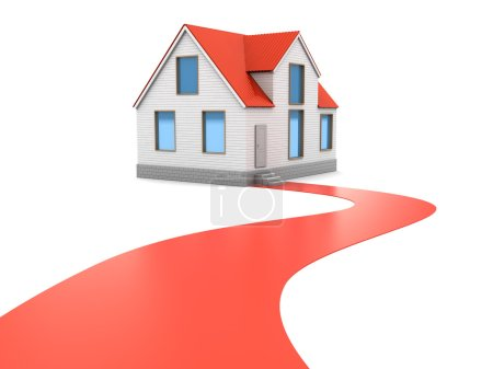 Photo for Abstract 3d illustration of pathway to home concept - Royalty Free Image
