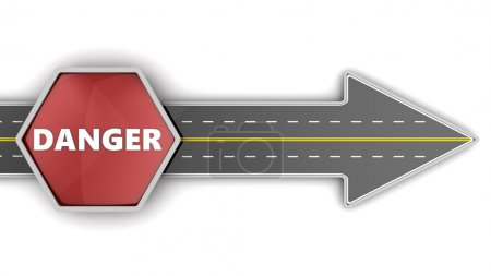 Road arrow and danger sign