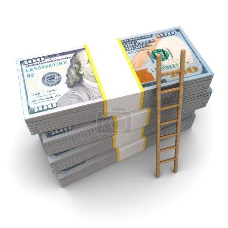 Photo pour Illustration 3D des piles d'argent et de l'échelle, concept de richesse - image libre de droit