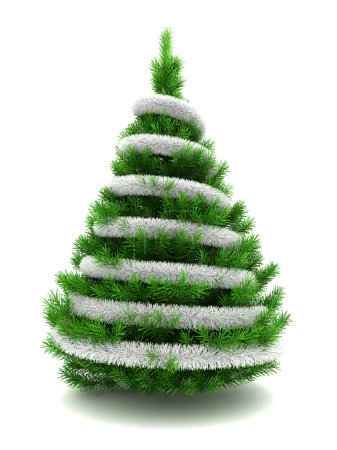 Photo for 3d illustration of christmas tree decorated with silver tinsel over white background - Royalty Free Image