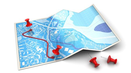 Blue folded map and red route
