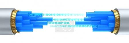 3d illustration of difital data stream inside fibe...