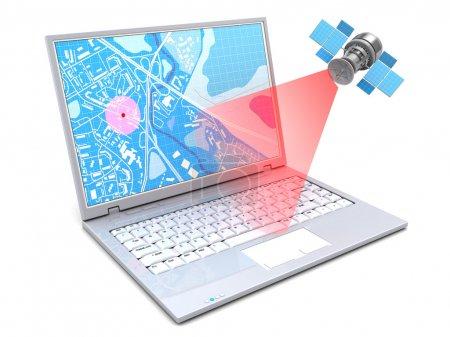 Photo pour Illustration 3d du suivi de localisation avec ordinateur portable et GPS, sur fond blanc - image libre de droit